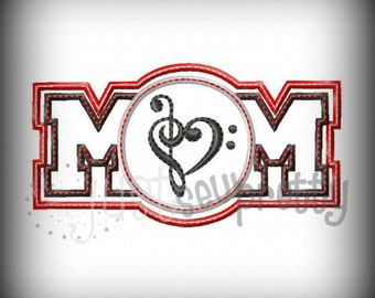 Band Music Mom Embroidery Applique Design