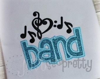 Band Music Embroidery Applique Design