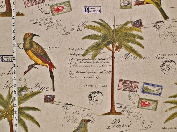 Items similar to Travel fabric tropical palm tree birds