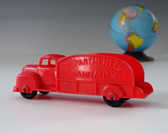 1950s Toy Truck . Original BANNER TOYS U.S.A. Red Hard Plastic . Antique Toy Truck . Collector Toy . Exc. Cond.
