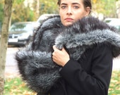 Faux fur fall scarf, glamorous silver fox cowl, fall fashion luxurious accessories, silver fox shawl, gift for her, winter fur scarf