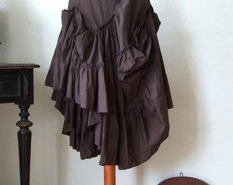 Ruffled brown skirt, cascades of ruffled layers in deep brown, prairie girl skirt, asymmetrical skirt, boho skirt, brown poplin glamorous