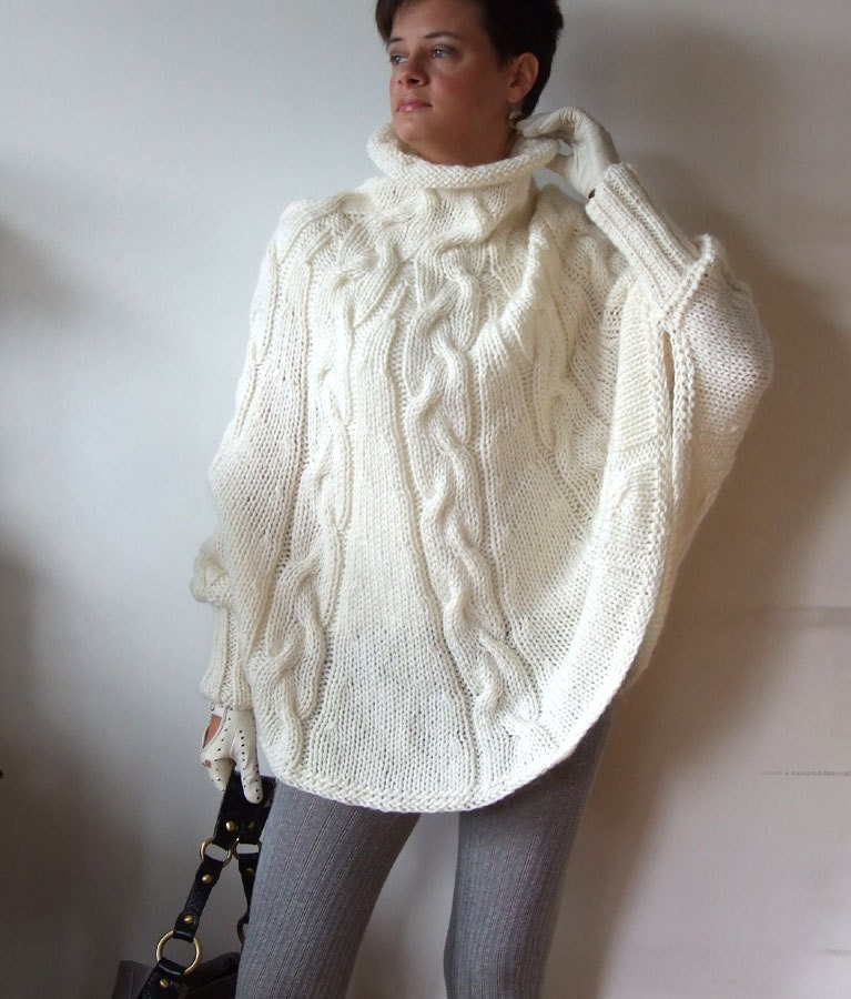 Knitting Pattern For Cape With Sleeves : Hand knitted poncho braided cape sweaterfall fashion cabled