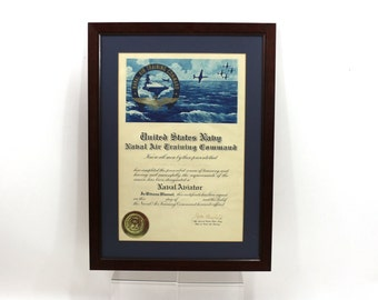 1950s Naval Air Command Plaque, Framed Vintage Military