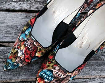 Vintage 1950s Satin Heels /  Jewel Tone Butterfly Wing Print / Sz 6.5