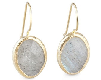 Grey Petite Oval Labradorit Earrings