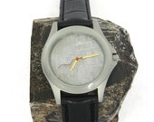 Personalized Men's Wristwatch with a Meteorite Watch Face