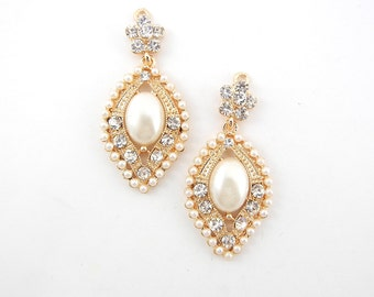 Pair of Gold-tone Marquis Faux Pearl and Rhinestone Drop Charms