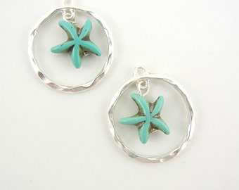 Pair of Turquoise Starfish in Matte Silver-tone Hoop Charms