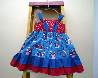 Americana OWL Patriotic Knot Dress  with two layers of ruffles in blue and red @@  From size 9 Mo. to 6 @@