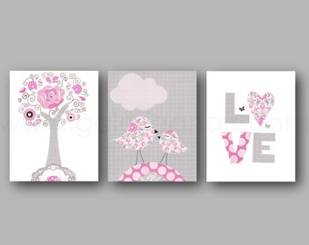 Birds Nursery art print baby nursery nursery art decor Kids art pink gray children wall art bird love Tree Set of three prints