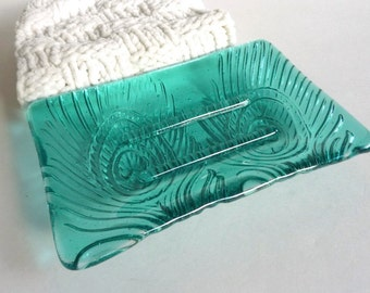Peacock Feather Imprint Soap Dish in Light Aquamarine Fused Glass