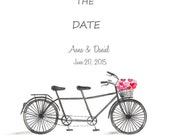 Save The Date Watercolor Tandem Bike- DIY Printable JPEG Black and White Wedding Announcement-Getting Married- Tying The Knot
