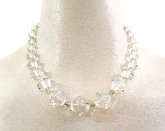 40s Necklace Vintage Faceted Crystal and Venetian Foil Glass Choker