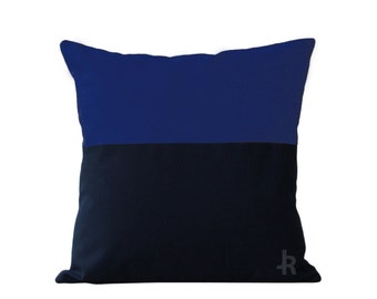 OUTDOOR Colorblock Pillow Cover - Cobalt and Navy by JillianReneDecor Modern Home Decor - Two Tone - Summer Patio Decor - Dazzling Blue