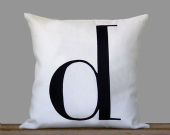 Personalized Initial Pillow | 18x18 | Monogram Pillow by JillianReneDecor | Typography Pillow | Black and White, Holiday, Personalized Gifts