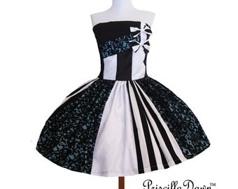 Scrap Box Circus Blue White Striped  Tim Birton Inspired Teaparty Bow Dress Special Occasion Evening Gown Prom