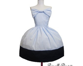 Simple Cotton Cup Dress in Blue and white with big bow----Custom in your size