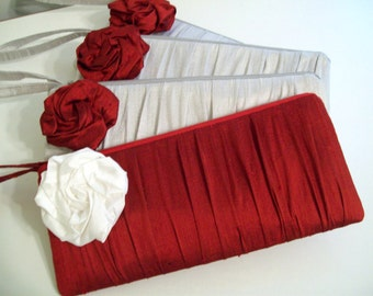 Ruched Clutch w/Rose -choose colors- (Monogramming available) Bridesmaid gifts, bridesmaid clutches, bridal clutches wedding party