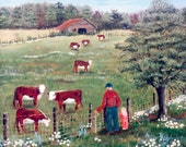 Country Cows Pasture Barn Man Fence Ball Cap Red Shirt Jeans Blond Girl Pecan Tree Daisies Flowers Folk Art Print by Arie Reinhardt Taylor