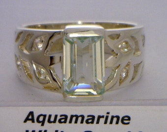 Aquamarine White Sapphire Unisex Gents Ladies Handmade Silver Ring size 11.25