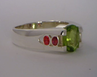 Green Peridot Red Sapphire Handmade Sterling 925 Silver Gents Ring size 11.75