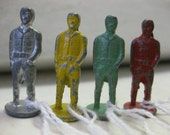 Vintage Metal Men Cracker Jack Prizes Game Pieces Train Japannned Standing Figurines 4 Pc Set Lot