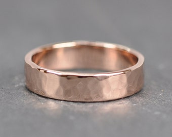 14K Rose Gold Wedding Band, 5mm, Hand Forged, Hammered Ring, Sea Babe Jewelry