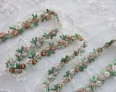 Embroidered Rose Bud TAN Flower Ribbon Trim Scrapbook Reborn Doll Quilt Sewing Couture