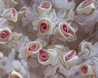 24 pc Chic CREAM ROSE PINK Satin Organza Ribbon Wired Rose Flower Reborn Doll Bridal Wedding Bow Hair Accessory Applique