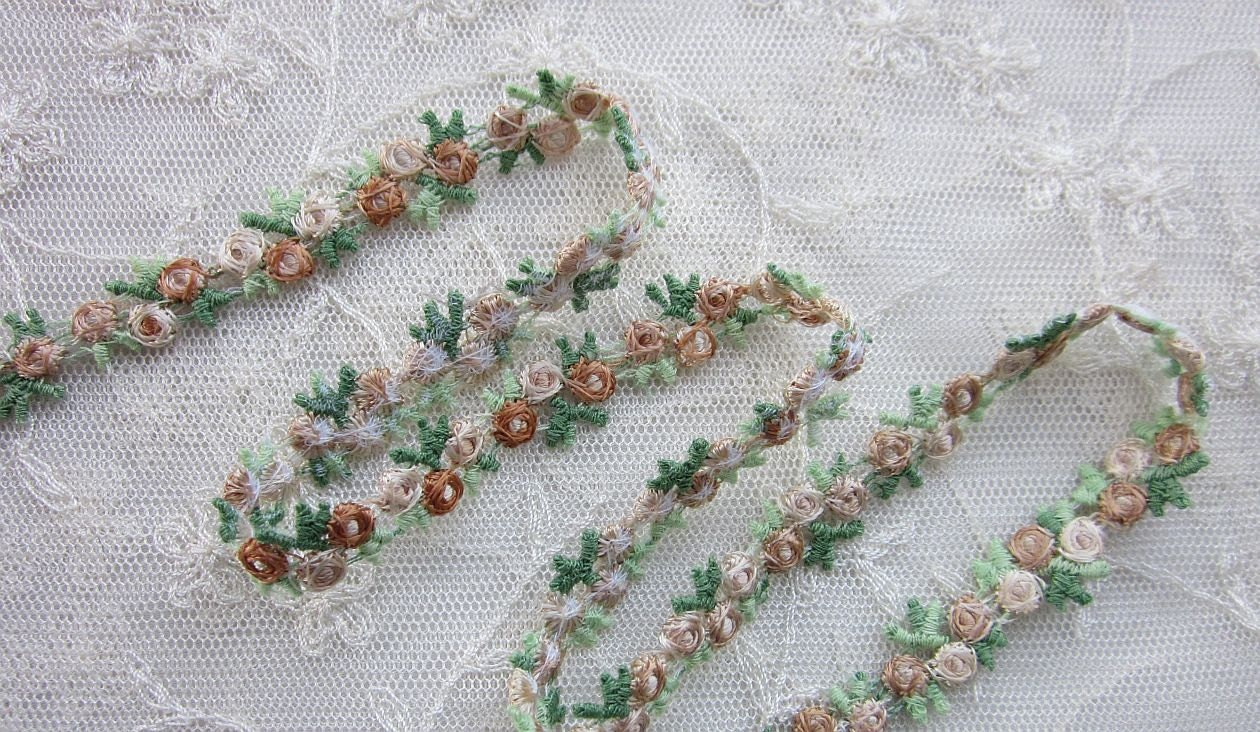 Embroidered rose bud tan flower ribbon trim scrapbook reborn