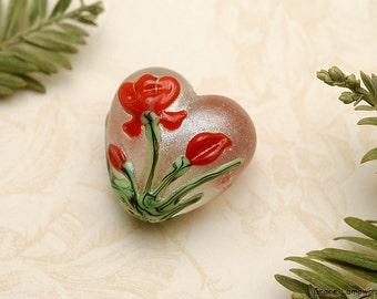 Crimson Flower Heart Focal Bead - Handmade Glass Lampwork Bead 11832105