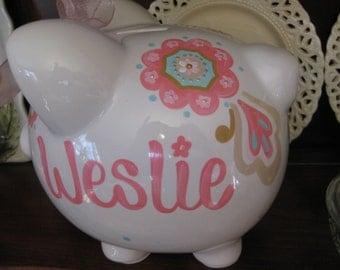 personalized ceramic piggy bank pbk coordinate maya flower