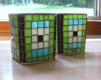 Mosaic Cube Candle Holder Set in Aqua-Lime-Ivory-Brown