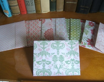 Envelopes A2 Set of 8 Green Pink and White Handmade