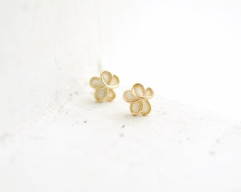 Forget Me Not Earrings, 14k Gold Posts, White Stud Jewelry