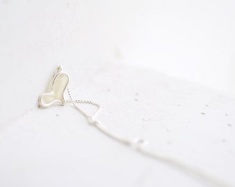 White Heart Pendant, Petite Silver Heart, Mothers Day Gift