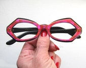 60's French Eccentric Checkered Large Thick Eyeglass Frames Iridescent Shades of Hot Pink