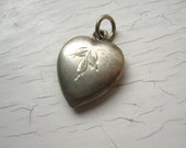 Vintage 30's Sterling Silver Etched Puffy Heart Charm