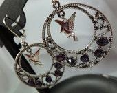 Purple Crystal Dove Earrings Chandelier Pierced FREE SHIPPING #71114005
