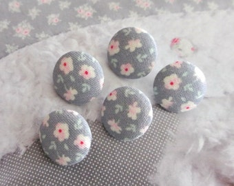 Handmade Small Tilda Gray Pink Rose Floral Flower Fabric Covered Buttons, Flat Backs, CHOOSE SIZE 5's