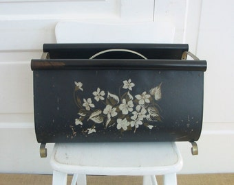 Vintage Magazine Rack Metal Black Dogwood Flowers