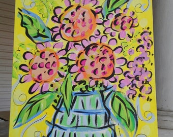 "Flower Vase Original Canvas Painting 16""x20""  Made to Order"