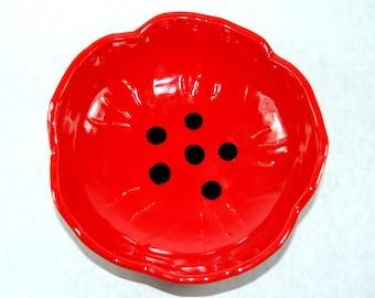 Red Poppy Flower Rain Catcher / Bird Bath / Bird Feeder
