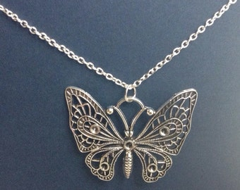 Butterfly Necklace, Steampunk Butterfly Necklace in antiqued silver