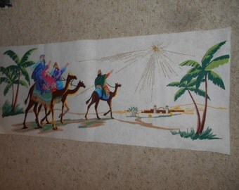 Vintage Christmas Picture on felt The 3 Wise Men following the Star 16 inch x 38 1/4 inch