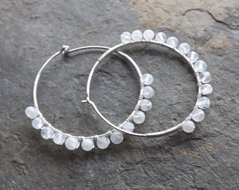 Sterling Silver Hoops Moonstone Hoop Earrings Wire Wrapped Moonstone Hoop Dangle Earring eco friendly Gemstone Jewelry for Women