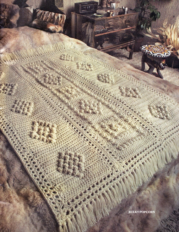 Crochet Afghan Patterns Bulky Yarn : Afghan Crochet Pattern Bulky Popcorn Crochet Afghan Pattern