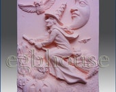 """2D silicone Soap/polymer/clay/cold porcelain mold-Halloween Witch on Broom - free shipping -""""Buy only from the original designer"""