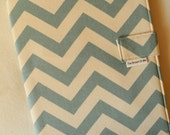Legal Pad Fabric Notebook Organizer with Pockets, Pad, and Pen, Aqua Chevron